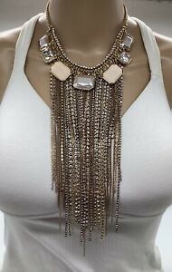 CHICO'S BLACK LABEL LONG CHAINS WITH CRYSTAL NECKLACE NWTS