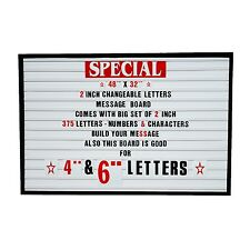 "Big Changeable 2"" Letters Message Sign Menu Price Marquee Reader Board 48""x 32"""