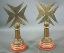 PAIR!Victorian Knight Order Malta Desk Paperweight Crosses&Rosso Marble Bookends