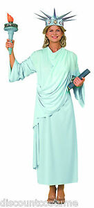 MISS LIBERTY STATUE OF LIBERTY 4TH OF JULY ADULT STD 14/16 HALLOWEEN COSTUME