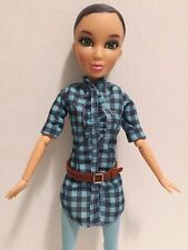 "Liv Doll Katie Black Hair Green Eyes Spin Master 11.5"" Plaid Blue/ Black Dress"