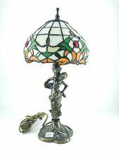 Lampada da appoggio in stile tiffany con base in ottone donna Liberty stilizzata