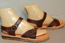 5.5 Nos Vtg 1970s Brown Leather Double Buckle Sandal Flats Boho 70s Dunham Shoe