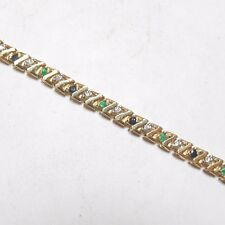 Estate 14K Yellow Gold Natural Sapphire, Emerald And Diamond Tennis Bracelet