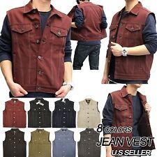 Men's NEW Premium Raw Denim Color Vest casual Jacket JEAN VEST Size M-3XL