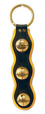 Yellow & Black Leather w/ Solid Brass Sleigh Bells Door Chime - Amish Handmade