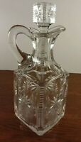 Unique Hand Blown EAPG Crystal Glass Large Decanter/Cruet & Matching Stopper