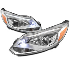 12-14 FORD FOCUS S SE SEL ST DRL LED PROJECTOR HEADLIGHTS LAMPS CHROME EURO LOOK