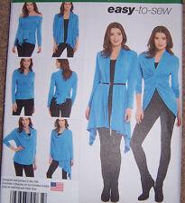 Wrap Twist Tie knit CARDIGAN Jacket Pattern drape w/multiple ways misses 6-24