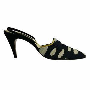 Walter Steiger Womens Black Beige Gold Pointed Toe Slip On Mule Cone Heels Sz 9B