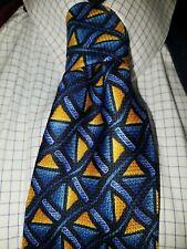 MENS tie or ladies SADDLESEAT tie Yellow ~ Gold ~ Blues  100% SILK  EUC