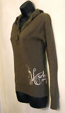 Hurley Hoodie Knit Top size Medium Long Sleeve Brown Logo Shirt Surf Skate Board