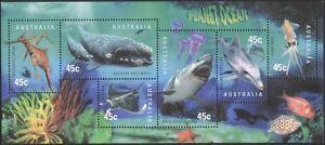 Australia 1998 Planet Ocean/Shark/Whale/Dolphin/Ray/Marine/Nature 6v m/s (s820)