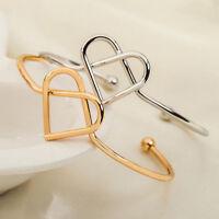 Gold Silver Hollow Heart Shape Bracelet Open Bangle Women Cuff Fashion Jewelry