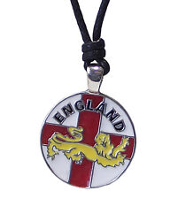 Pewter ENGLAND Pendant on Adjustable Black Cord Necklace Nickel Free : WORLD CUP