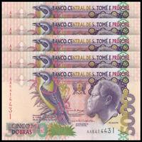 Lot 5 PCS, St Thomas & Prince, 5000 Dobras, 2004, P-65c, Banknotes, UNC