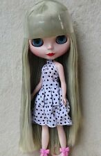 "12"" Takara Neo Blythe Dolls from Factory Nude Dolls Gray Green Straight Hair 245"
