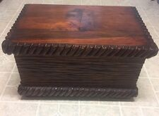 BEAUTIFUL - Antique Carved Wood Blanket Chest / Trunk / Storage - NICE!!!