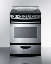 "Summit REX245SSRT 24"" Slide In Electric Range Smooth Top Stainless Steel"
