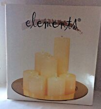 "Elements Candle Garden 7 Ivory Colored Pillar Candles on 14"" Brass Plate Charger"
