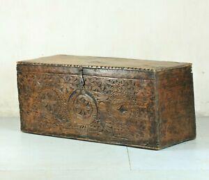 Rare 17th Century Scandinavian folk art carved pine chest / blanket box / coffer