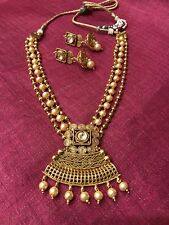 Indian Pakistani Ethnic Bollywood Gold Plated Pearl Moti Kundan Necklace Pendant