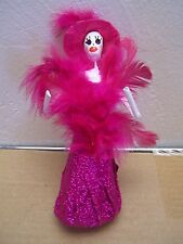 Day of the Dead Small Skeleton Papier Mache Feathered Catrina - Hot Pink- Mexico