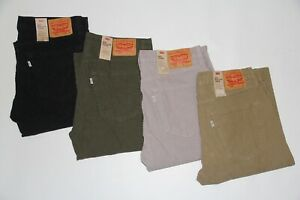 New Levi's 502 Men's (Black, Gray, Green, Tan) Taper Stretch Corduroy Pants