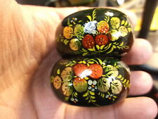 GORGEOUS MATCHING SET OF 6 VTG UKRAINIAN HAND PAINTED NAPKIN RINGS, FOREST GREEN