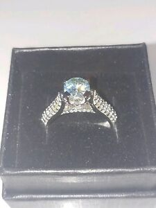 2.80 ct VVS1 BLUE ROUND REAL MOISSANITE 925 SILVER RING SZ 7 (US SELLER)