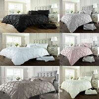 Luxury Duvet Cover With Pillowcases Quilt Cover Bedding Set Pintuck  All Sizes