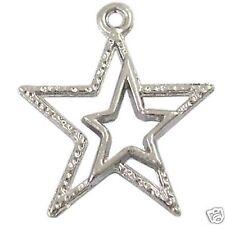 10 x Pendentif plaqué argent Double creux étoiles charme