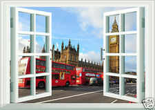 Window Scene London England Big Ben and  Bus Wall Art Sticker Free Postage