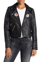 New BLANKNYC Faux Leather Jacket Womens Size XS Black Floral Studded Moto