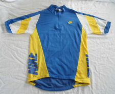 Vintage Nike Cycling Jersey S Small Blue Yellow White 1/4 zip bike bicycle shirt