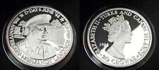1994 Turks Caicos Large Silver Proof 20 crowns WWII Normandy Eisenhower