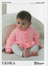"""U.K.H.A.  12"""" - 22""""  BABY CARDIGAN & SWEATER WITH FRILL DOUBLE KNITTING PATTERN"""