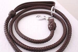 "Quality Dog Leash Lead Genuine Leather Hand Braided 74.5""/6.2 Ft Heavy Duty"