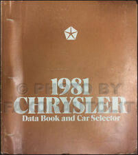 1981 Chrysler Data Book Dealer Album New Yorker Cordoba LeBaron Newport Facts