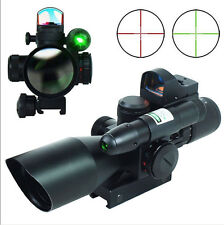 Tactical 2.5-10X40 Rifle Scope w/ Green Laser & Mini Reflex 3 MOA Red Dot Sight