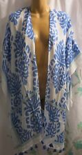 Nordstrom Women's One Size Swimsuit Cover-Up Blue White Tassles Fringed