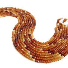 4mm-6mm Hessonite Garnet Rondelle Beads, Orange Shaded Faceted 12.5 Inch Strand
