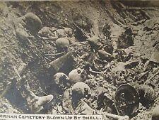 ANTIQUE WW WORLD WAR GERMAN CEMETERY HELMET BOOT SKULL MACABRE BATTLEFIELD PHOTO