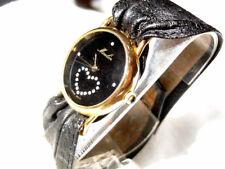 Moulin Damen Lederband Armband Uhr mit Strass-Herz