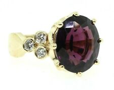 Siberian Amethyst and Diamonds 14ky Gold  Designer Ring size 5.5