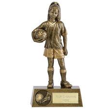 FEMALE FOOTBALL SILVER RESIN TROPHY AWARD 17.5 CM RSJ65136 FREE ENGRAVING B6