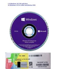 Genuine Microsoft Windows 10 Pro Professional 64Bit DVD Disk & 1 License Key COA