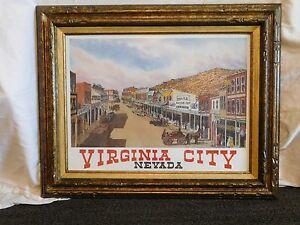 "VINTAGE 31"" X 25"" W HAROLD HANCOCK FRAMED VIRGINIA CITY  NEVADA PICTURE PRINT"