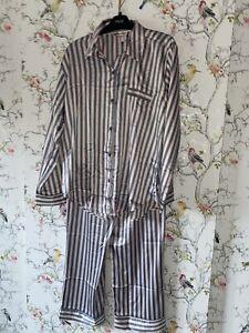 victoria's secret The Satin pyjamas Grey & Pink Stripe Medium £69