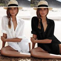 Womens Bikini Cover Up Beach Mini Dress Swimwear Beachwear Loose Shirts Bathing